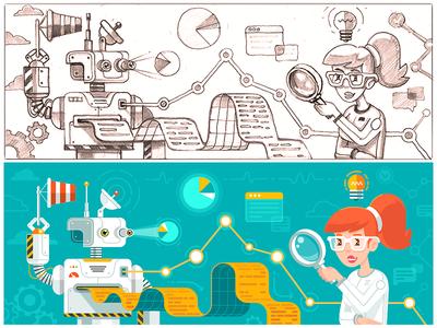 Metrics Illustration vol.2 girl mascot virtualization robot mascot transaction web page soft branding bug search logics window concept sketch work process visual metaphor