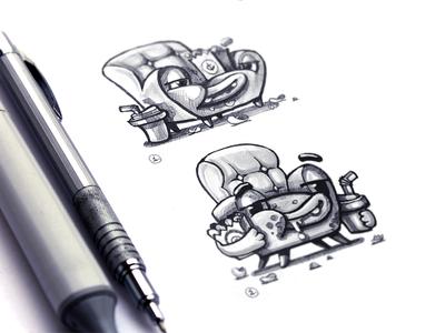 Lazy Sofa Sketches sofa mascot sketch kik messenger brand ilustrations app design metaphor concept sketches stickers messenger app