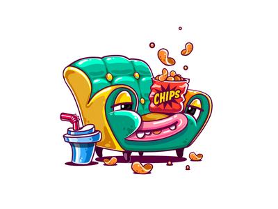 Lazy Sofa Sticker custom mascot design custom character design messenger stickers soda chips app stickers lazy sofa