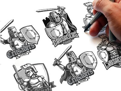 Crusaders Emblem Sketches cyber sport team shield heraldry sport logo emblem