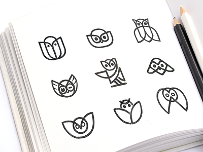 Owl Logo Options line mark logomark product branding brand identity startup logo soft mark custom logo sketching line bird sign owl