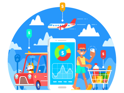 Track Expenses Illustration apple pay summer time check purchases vacation onboarding illustration branding illustration flat money app fintech dashboard track expenses