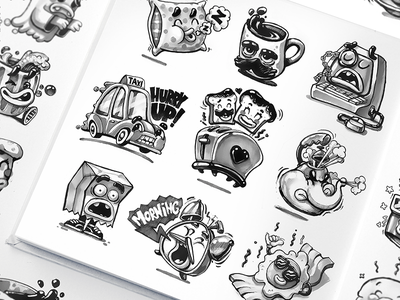 Sticker Pack Sketches message chat caricature comic funny characters cartoon computer app stickers design character design messenger stickers sticker pack mascot sketches