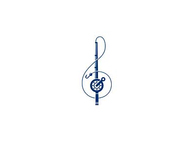 Fish and Music identity mark saloon restaurant logotype composition notes music mark logo treble clef fishing rod fish