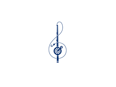 Fish and Music identity mark saloon restaurant logotype composition notes music mark logo treble clef fishing rod fish