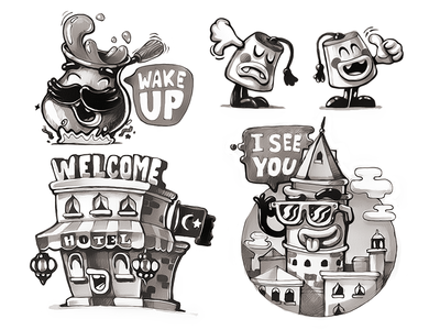 Chat Stickers Sketching chat stickers design sticker pack character product design app branding cezve welcome hotel turkish fes viber messenger galata tower istanbul