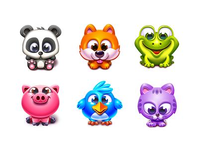 Animal Characters panda cat frog shiba inu matching gameart icon vector mascot casual mobile game