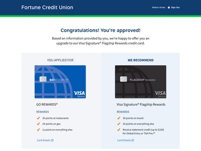 Credit Card Upsell web ux ui upsell credit cards credit card