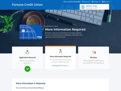 Application Status - Credit Card userinterface uiux web ui bank credit creditcards status