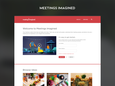 Marriott's Meetings Imagined grid unauthenticated homepage design ui user interface