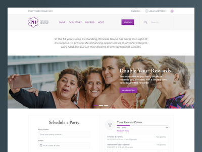 Princess House hybris webdesign gamify interface web ux ui homepage clean ecommerce