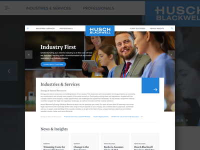 Husch Blackwell Homepage interface episerver web design web ux homepage clean design ui lawfirm legal