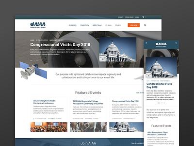 AIAA American Institute of Aeronautics and Astronautics inspiration concept user interface ux ui homepage hero simple clean design