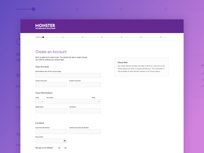Monster - Create an Account steps sign up create account account account creation
