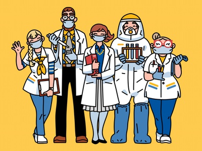 Smiling doctors linework character illustration masks mask pandemic medical app profession cheerful doctors public relations pharmaceutical character design medical