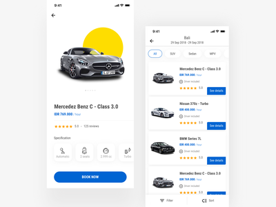 Exploration Car Rental - Product Details ecommerce product detail page iphonex travel ui bmw mercedez sportcar cars carapps rentalcar carrental uidesign uiapps tiket.com