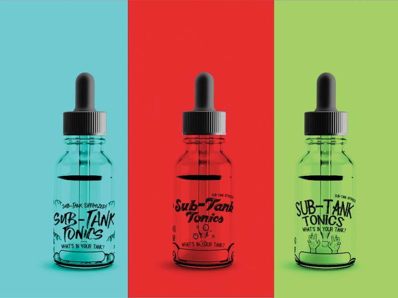 A WIP Of Three Label Designs For E Liquid Company Out Dallas Texas