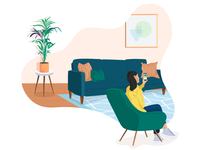 Video Interview couch plant armchair living room livingroom online phone mobile interview video video interview 2d hand drawn hr illustration