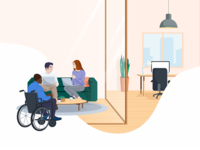 Work Environment office conference inclusion diversity meeting workspace work hand drawn 2d hr illustration