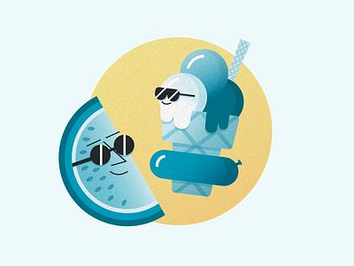 Summer 2018 sun sunglasses melon ice-cream prototyping summer illustration