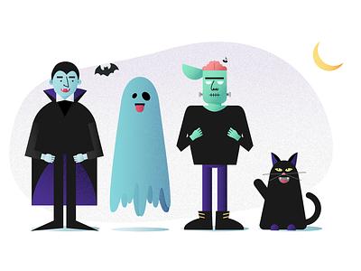 Halloween 2018 design graphic cat black dracula ghost halloween illustration