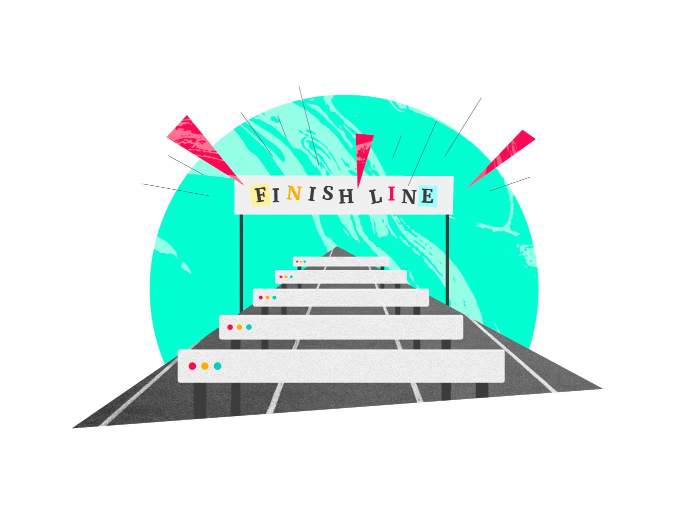 Hotjar Conversion Funnels hotjar finish line hurdles illustration