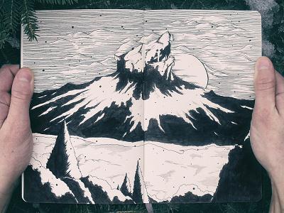 Wolfhowl ink handdrawn sketch moleskin mountain wolfhowl erin souja no kemono