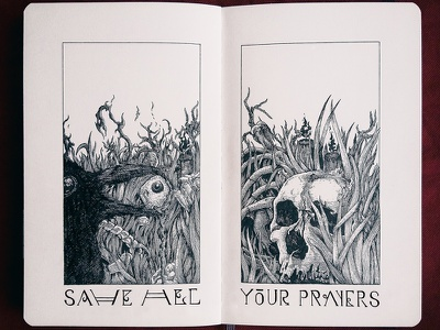 SAVE ALL YOUR PRAYERS book moleskin sketch handdrawn illustration ink crosshatching prayers your all save