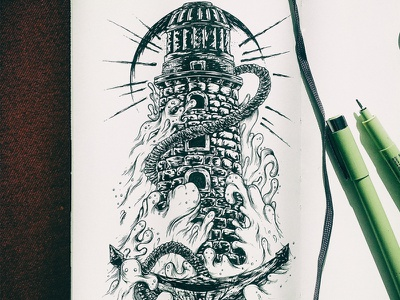 Lighthouse illustration detailed ink micron moleskin design tattoo sketch lighthout