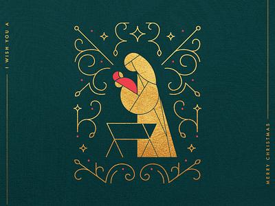 Nativity Scene holiday green gold mary baby jesus line illustration card christmas