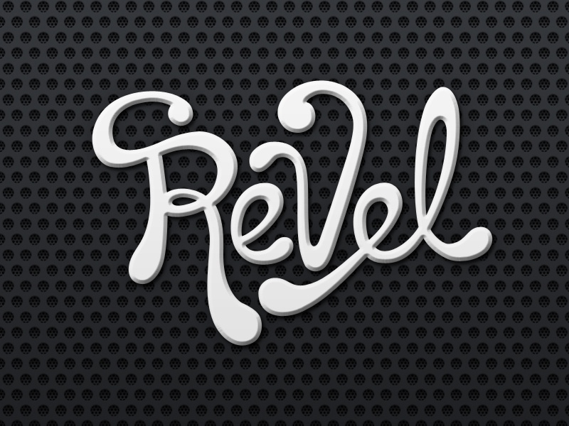 Revel logotype logo custom black and white amp music band hand written script typography