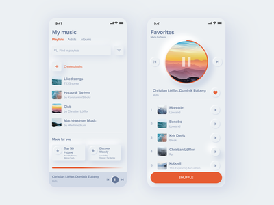 Music app neomorphism ux design light minimal orange iphone shadow music white blue figma mobile clean application ux design