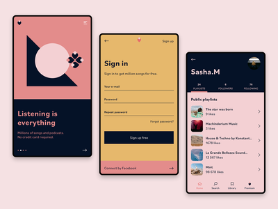 Listening is everything 🎵🎵🎵 mobile ux mobile design mobile ui colours sketch mobile ui design music app music application ux design ui app ux design