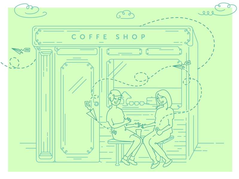 Refer a friend illustration refer program outline illustration design vector illustration