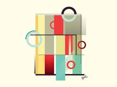 Circles vintage geometry abstract illustration modernism