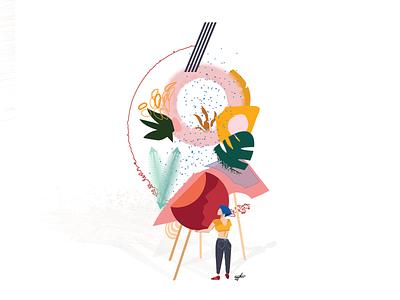 Doingart inspiration vector illustration female artist