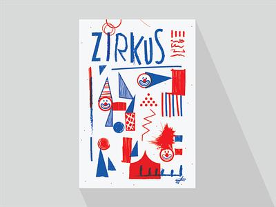 Zirkus - poster polish naive fun clowns children zirkus circus