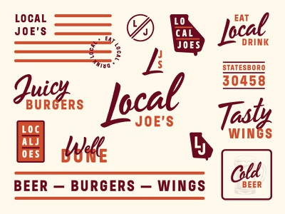 All the things local joes grill branding beer hops wings burger restaurant identity typography