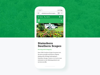 V2 landing page user interface clean web design lawncare grid icons ux ui grass website branding