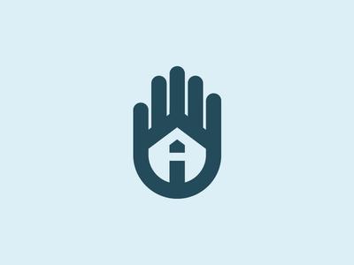 A house that needs a home icon trademark monogram symbol logomark brandmark a hand home house logo design logo