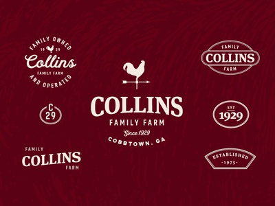 Collins Family Farm, Pt. 4 logo weather vane branding rooster farm typography type patch brand badge thick lines mark