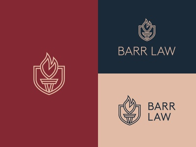 A light in the darkness... monoline light protect torch shield flame attorney lawyer law firm icon mark typography logo design clean identity logo branding