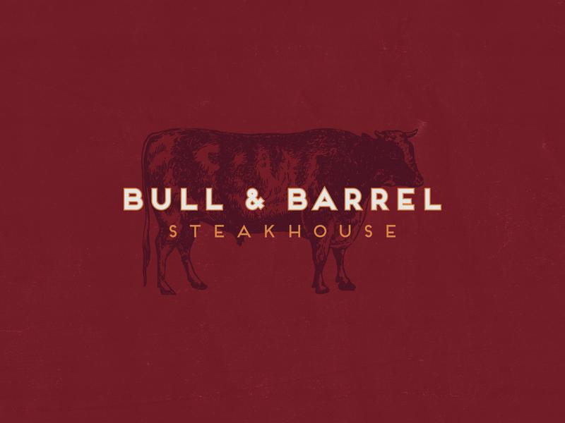 Bull and Barrel, Part 1 type seafood bull cow steakhouse restaraunt logo design typography illustration identity branding