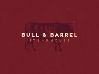 Bull and Barrel, Part 1 type seafood bull cow steakhouse restaraunt logo design typography illustration identity branding