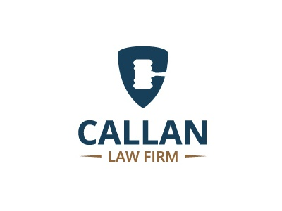 Callan Law logo mark gavel law lawyer justice firm shield eminent domain