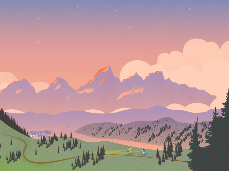 Skyline Trail. Jackson, Wyoming landscape illustration mountains bike wyoming sunset tetons mountain bike skyline trail