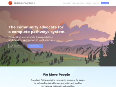 Friends of Pathways Homepage tetons mountains biking illustration landing page heroimage webdesign website homepage