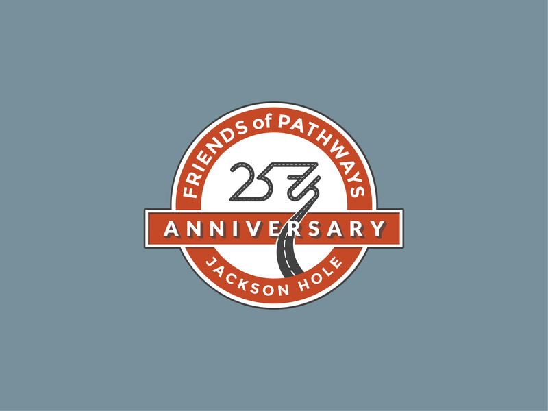 25th Anniversary Logo friends pathway 25 branding logo a day wyoming jackson hole anniversary 25th anniversary logodesign logo