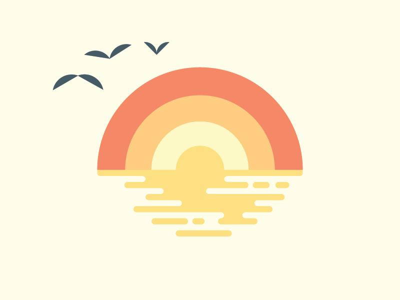 Sunset on the Pacific illustration bird branding logo sketch ripples horizon seagulls birds beach ocean water lines sun california socal sunset