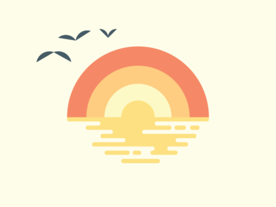 Sunset on the Pacific illustration bird branding logo sketch ripples horizon seagulls birds beach ocean water lines sun california socal sunset